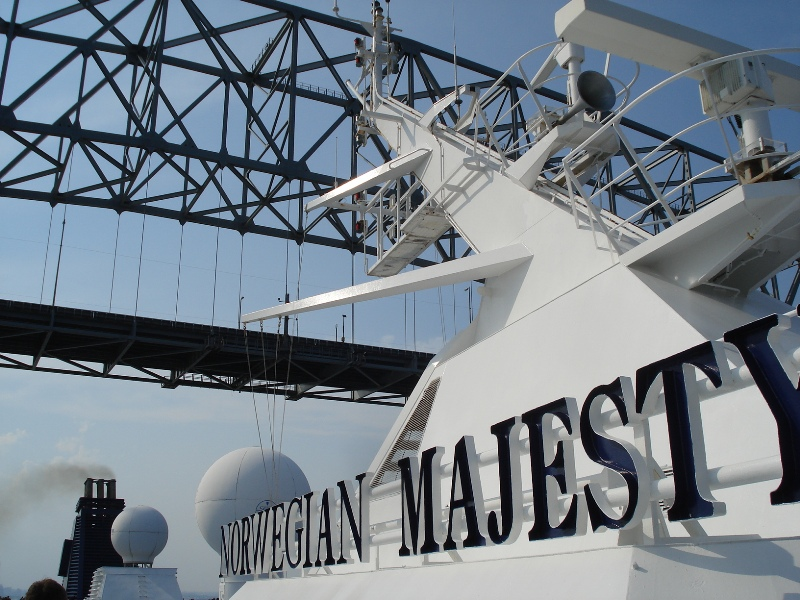 Majesty going under the Chesapeake Bay Bridge