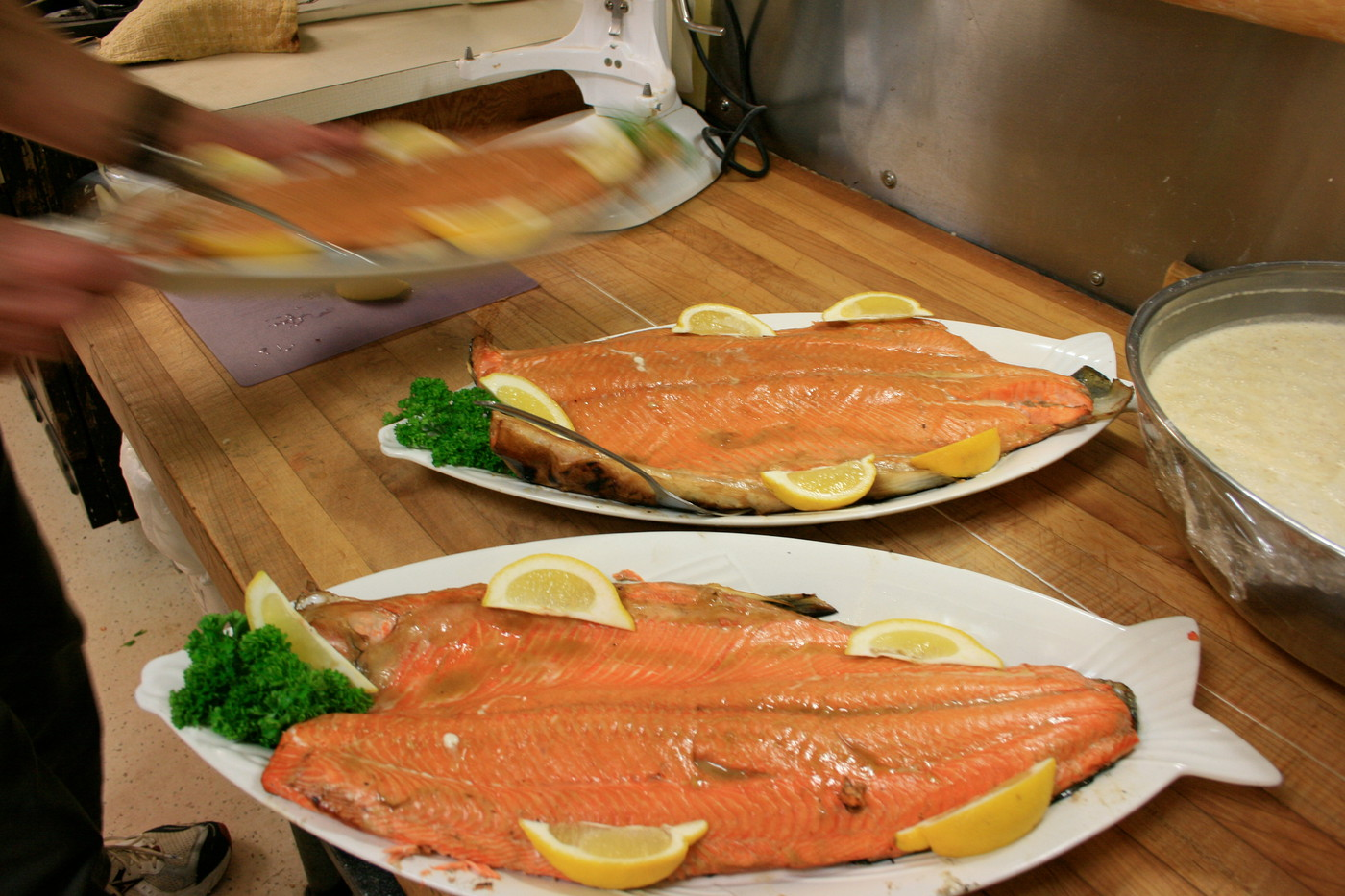 Coho salmon schooled up for serving