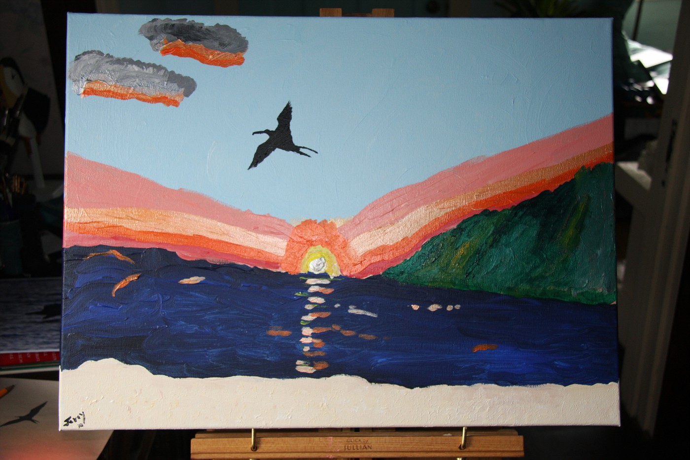Frigate bird at sunset before lesson