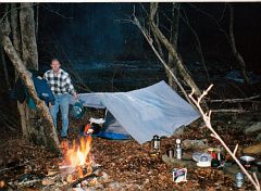 E. Ray Austin, camping on Clear Fork