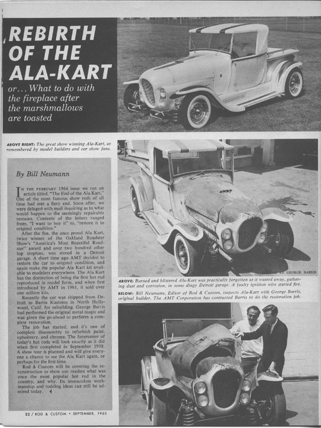 Ala Kart Restoration article Rod & Custom Sept 65 01