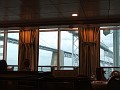 Passing under the Bay Bridge(s), seen from the dining room
