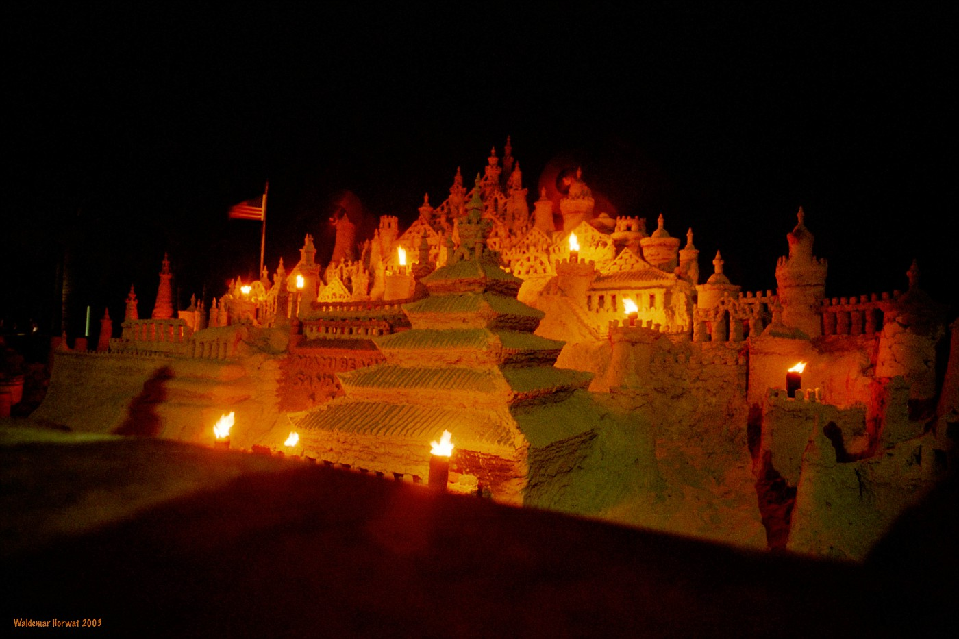 Sand Castle at Night