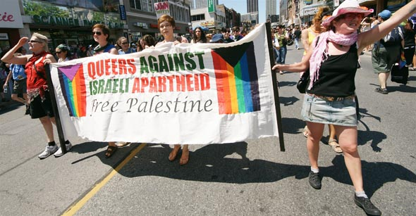 Funny how they protest the only Middle East country that accepts gays