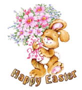 Happy Easter - BunnyWithFlowers