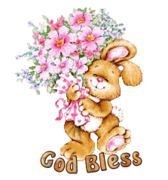 God Bless - BunnyWithFlowers