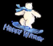 Happy Winter - SnowboardingPolarBear
