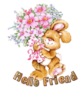 Hello Friend - BunnyWithFlowers