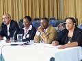 Dr William Pape, directeur des centres GESKIO, Mme Magalie Rosemond,Dr Yves Lambert, Dr joelle Deas Von Onacker.