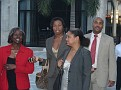 Arriving guests, in red counsel Marie Toussaint & friends