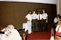 Unknown, 1LT. Steve Dunn, Unknown, MSG. E. Ray Austin, Fort Monroe Officers Club, between 1985-1987.