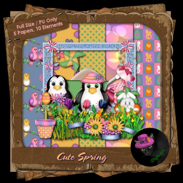 Cute Spring Mini Kit 3 - Penguin's Garden