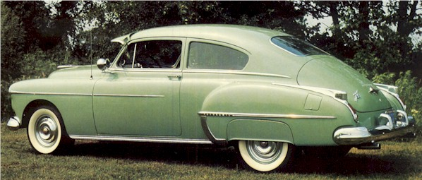 A 1950 Oldsmobile Futuramic 88 Club Sedan
